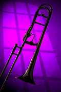 Trombone Glass - Trombone Silhouette on Purple by M K  Miller