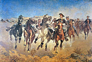 Pioneers Painting Posters - Troopers Moving Poster by Frederic Remington
