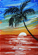Coastal Art - Tropical Abstract Palm Tree Original Plumeria Flower Painting SINKING BELOW by MADART by Megan Duncanson