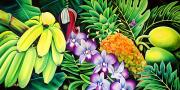 Fresh Green Painting Posters - Tropical Abundance Poster by Barbara Eberhart - Printscapes