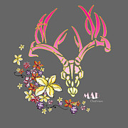 Girls Mixed Media - Tropical Antlers by MAD Outfitters by MAD Outfitters