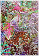 Vines Mixed Media Prints - Tropical Basket Print by Mindy Newman