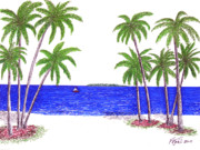 Beach Scenes Drawings Posters - Tropical Beach Poster by Frederic Kohli