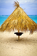 Hut Photo Posters - Tropical beach umbrella Poster by Elena Elisseeva