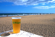 Beer Photos - Tropical Beer on the beach by Rob Hawkins