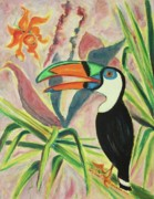 Leclair Prints - Tropical Bird and Plants Print by Suzanne  Marie Leclair