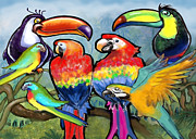 Parrot Art - Tropical Birds by Kevin Middleton