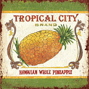 Eat Posters - Tropical City Pineapple Poster by Debbie DeWitt