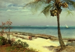 Ocean Shore Painting Posters - Tropical Coast Poster by Albert Bierstadt