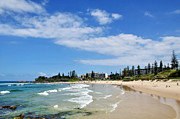 Breaking Waves Posters - Tropical Coastline - Port Macquarie Beach Poster by Kaye Menner