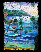 Getaway Mixed Media Posters - Tropical Cove  fresco triptych 2 Poster by OLena Art