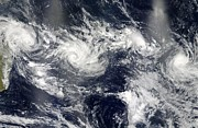 February Ocean Prints - Tropical Cyclones Over Indian Ocean Print by NASA / Science Source