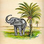 Johnkeaton Paintings - Tropical Elephant by John Keaton