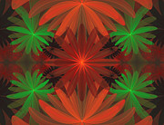 Fractal Designs Prints - Tropical Flowers Print by Sandy Keeton