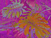 Kerri Ligatich Digital Art - Tropical Foliage - Pink by Kerri Ligatich