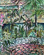 Plants Mixed Media Posters - Tropical Garden Poster by Mindy Newman