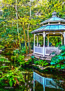 Lush Green Digital Art Framed Prints - Tropical Gazebo Framed Print by Michelle Wiarda
