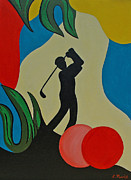 Golfer Prints Art - Tropical Golfer by Lisa Marie
