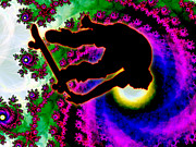 Athletics Extreme Hobby Action Male Men Teen Teens Prints - Tropical Hurricane Eye with Skateboarder Print by Elaine Plesser