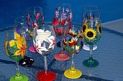 Hand Painted Glasses Glass Art - Tropical Inspirations by Jayne Strahm