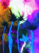 Palm Trees Mixed Media Prints - Tropical Island 2 Print by Mimo Krouzian