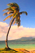 Coconut Trees Posters - Tropical Island 2 - Painterly Poster by Wingsdomain Art and Photography