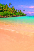 Beach Digital Art - Tropical Island 3 - Painterly by Wingsdomain Art and Photography