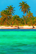 Sandy Beaches Digital Art Framed Prints - Tropical Island 5 - Painterly Framed Print by Wingsdomain Art and Photography
