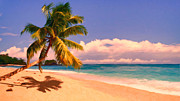 Sandy Beaches Posters - Tropical Island 6 - Painterly Poster by Wingsdomain Art and Photography