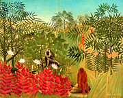 Storm Prints Painting Acrylic Prints - Tropical Jungle by Henri Rousseau Acrylic Print by Pg Reproductions