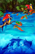 Parrot Posters - Tropical Lagoon Poster by Kathleen Kelly Thompson
