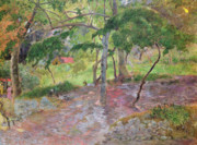 Tropical Trees Paintings - Tropical Landscape by Paul Gauguin