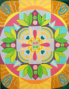 Mindfulness Paintings - Tropical Mandala by Anne Cameron Cutri