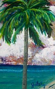 Caribbean Sea Paintings - Tropical Palm by Paintings by Gretzky