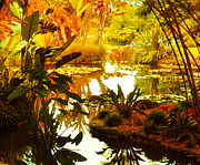 Pond Nature Landscape Digital Art Acrylic Prints - Tropical Paradise Acrylic Print by Amy Vangsgard