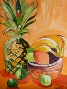Suzanne Willis Metal Prints - Tropical Pineapple Metal Print by Suzanne Willis