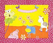 Toy Animals Drawings Prints - Tropical Punch Print by Judy Cheryl Newcomb