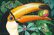 Mango Painting Metal Prints - Tropical Rain Forest Toucan Metal Print by Richard De Wolfe
