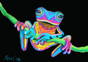 Whimsical Frogs Posters - Tropical Rainbow frog on a vine Poster by Nick Gustafson
