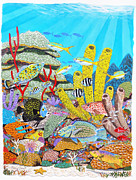 Tropical Fish Painting Originals - Tropical Reef by Carey Chen