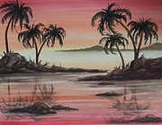 Surfing Art Painting Originals - Tropical Reflections by Conni  Reinecke