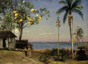 Beach Hut Paintings - Tropical Scene by Albert Bierstadt