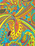 Vibrant Colors Drawings Prints - Tropical sizzle Print by Ramneek Narang