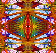 Abstract Digital Art Paintings - Tropical Stained Glass by Amy Vangsgard