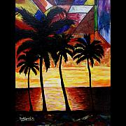Female Art Mixed Media Print Originals - Tropical Sunset 2009 by Everett Spruill