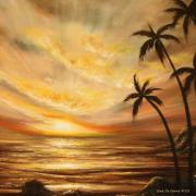 Sun Rays Painting Posters - Tropical Sunset 64 Poster by Gina De Gorna