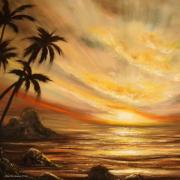 Sun Rays Painting Prints - Tropical Sunset 65 Print by Gina De Gorna