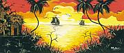 Herold Alvares Paintings - Tropical Sunset by Herold Alvares