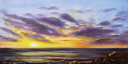 Sunsets Original Paintings - Tropical Sunset Panoramic Painting by Gina De Gorna