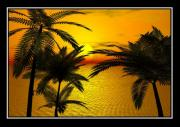 Storm Prints Digital Art Prints - Tropical sunset Print by William  Ballester